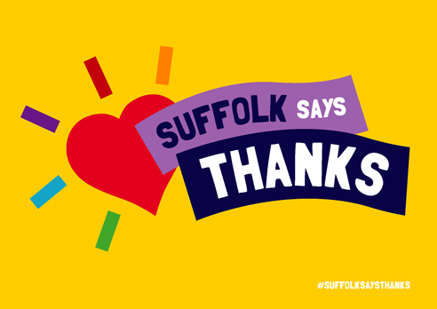 """Suffolk says thanks"" poster with heart. yellow background"