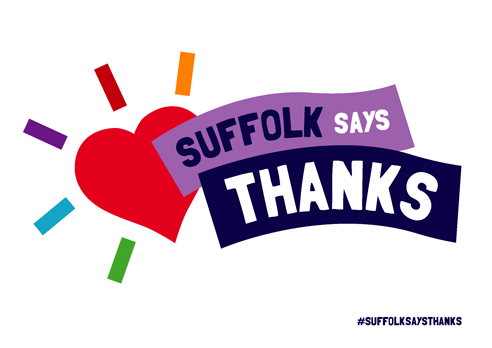 """Suffolk says thanks"" poster with heart, white background"