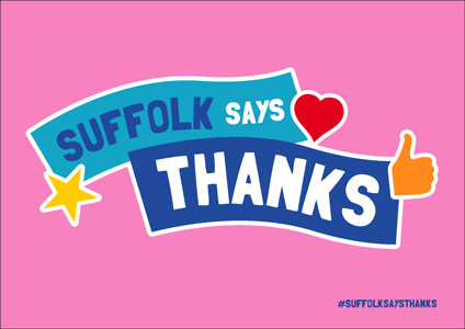 """Suffolk Says Thanks"" on pink background"