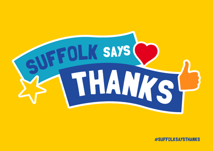 """Suffolk Says Thanks"" on yellow background"