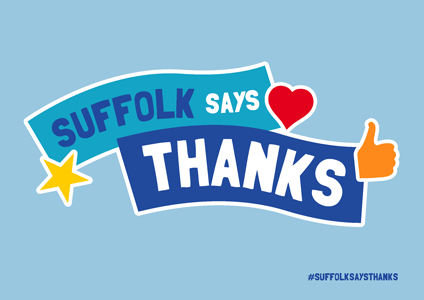 """Suffolk Says Thanks"" on light blue background"