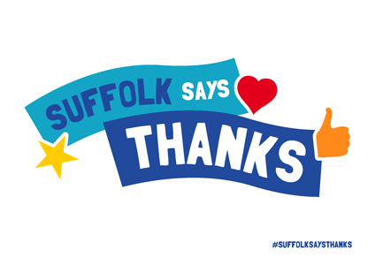 """Suffolk Says Thanks"" on white background"