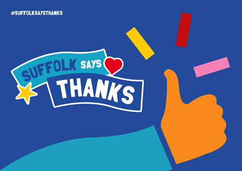 """Suffolk says thanks"" poster with thumbs up blue"
