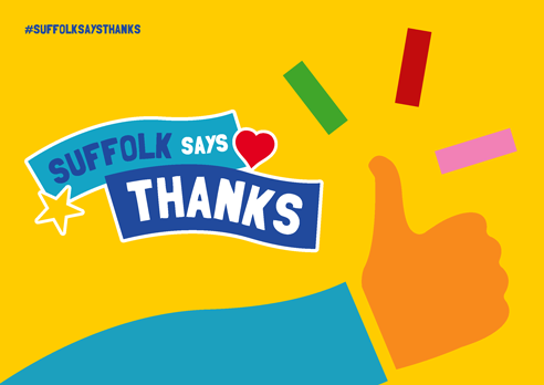 """Suffolk says thanks"" poster with thumbs up yellow"