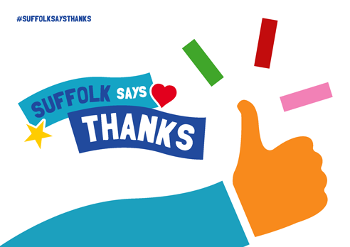 """Suffolk says thanks"" poster with thumbs up white"