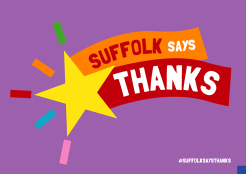 """Suffolk says thanks"" poster with star purple"