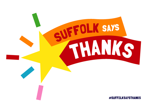 """Suffolk says thanks"" poster with star - white"