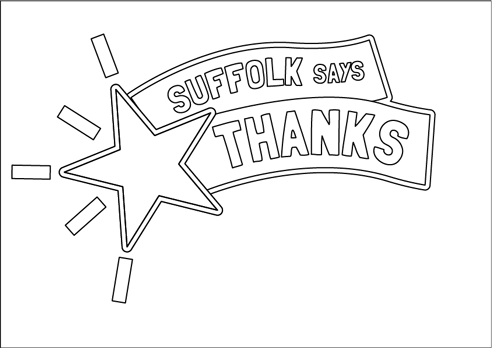"""Suffolk says thanks"" poster with star to colour in"