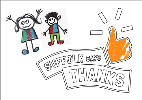 """Suffolk says thanks"" poster with thumbs up to colour in"