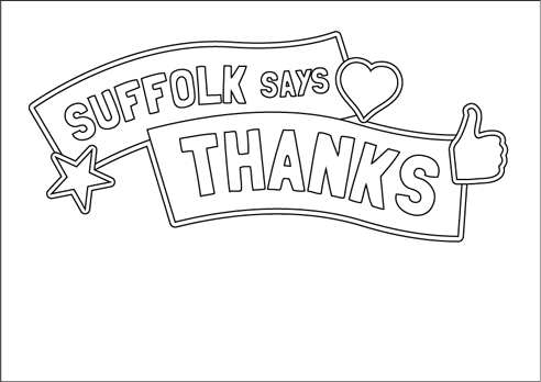 """Suffolk says thanks"" poster with heart, star and thumbs up to colour in"