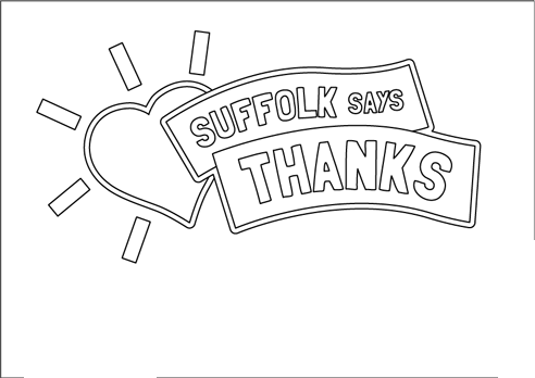 Line poster of heart saying Suffolk says thanks